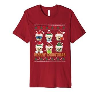 Amazoncom Yorkie Poo Ugly Sweater Santa Costume Xmas Tshirt Clothing