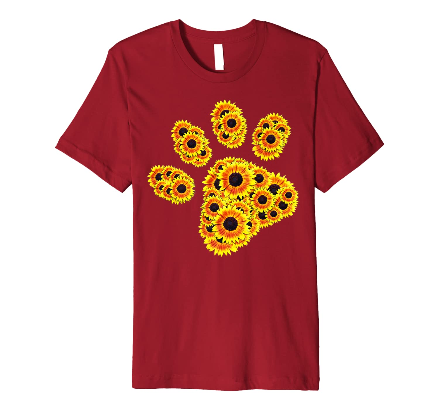 0ddfa9d9a13a Flower Mom Pet Paw Print of Sunflower - Cat or Dog Paw Premium T-Shirt