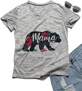 Erxvxp Mama Bear Print T-Shirt Women 2018 Summer Casual Short Sleeve T Shirt for Mother's Day