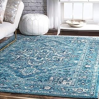 """nuLOOM Vonda Fancy Persian Area Rug, 5` x 7` 5"""", Aqua"""