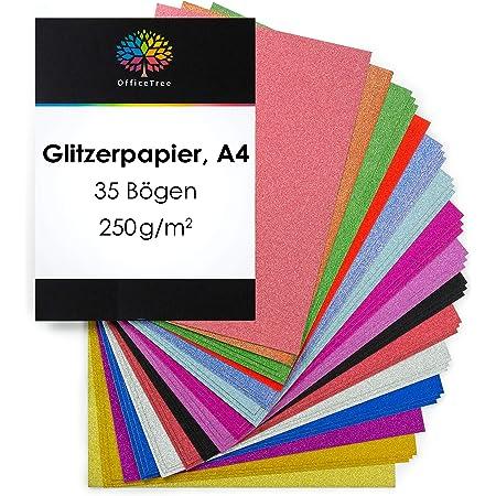 OfficeTree Papier Pailleté A4 - Papier Paillette 15 Couleurs - 35 Feuilles de 250 g/m² - Carton Scintllant pour Bricoler et Créer