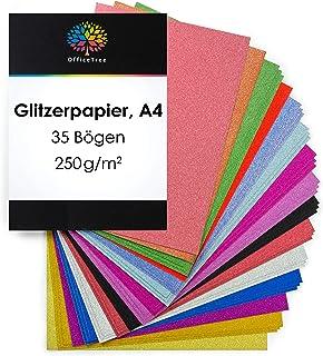 OfficeTree Papier Pailleté A4 - Papier Paillette 15 Couleurs - 35 Feuilles de 250 g/m² - Carton Scintllant pour Bricoler e...