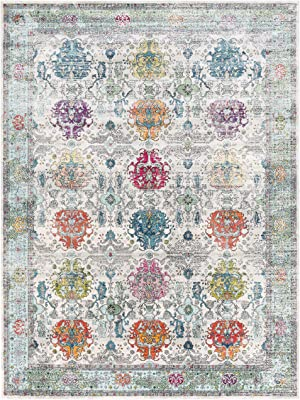 Fareeha Beige and Sky Blue Updated Traditional Area Rug 2' x 3'