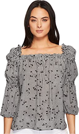 CeCe - Ruffle Square Neck Simple Check Ditsy Blouse