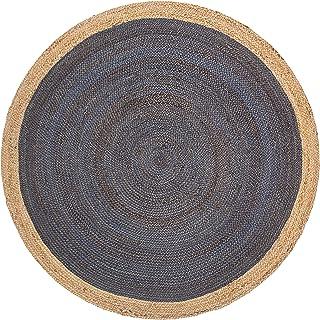 Fab Habitat Essentials: Yellowstone Braided Jute Rug (5' Round) - Dark Blue