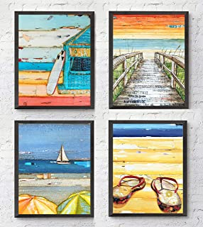 Summer Beach ART PRINTS Set of 4 by Danny Phillips, UNFRAMED, Mixed media collage wall art decor posters, 8x10 inches