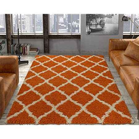 Ottomanson Pnk7029 20x59 Trellis Rug 20 Inch X 59 Inch Orange Furniture Decor