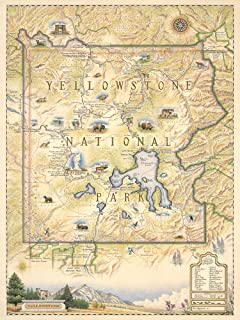 Xplorer Maps Yellowstone National Park Poster - Authentic Hand Drawn Map of Yellowstone Map Art - Lithographic Fine-Art Print