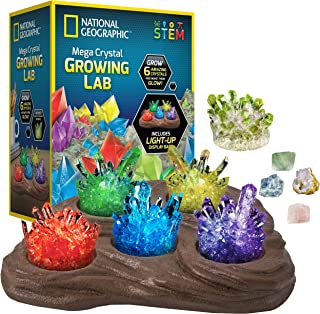 NATIONAL GEOGRAPHIC Mega Crystal Growing Lab - Grow 6 Vibrant Crystals Fast (3-4 Days), with Light-Up Display Stand, Learn...