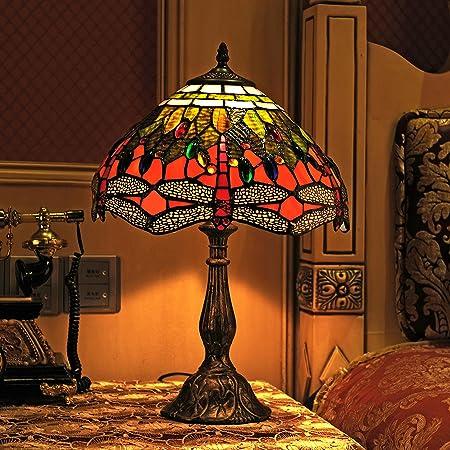 Gweat Tiffany 12 Pouces Vintage Style Européenne Vitrail Dragonfly Et Perle Chaud Coloré Série Lampe De Lampe De Tablee De Bureau Lampe De Chevet