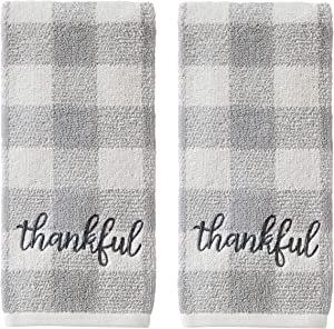 SKL Home by Saturday Knight Ltd. Thankful Plaid Hand Towel Set, 16x25, Gray 2 Count