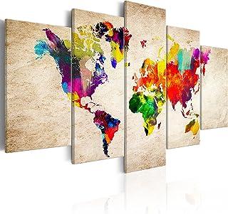 murando - Cuadro en Lienzo Mapamundi 200x100 cm Impresión de 5 Piezas Material Tejido no Tejido Impresión Artística Imagen Gráfica Decoracion de Pared Mapamundi Continente k-C-0083-b-m