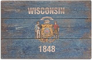 Lantern Press Rustic Wisconsin State Flag (10x15 Wood Wall Sign, Wall Decor Ready to Hang)