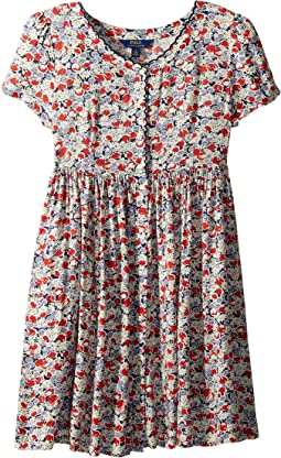 Floral Button-Front Dress (Big Kids)