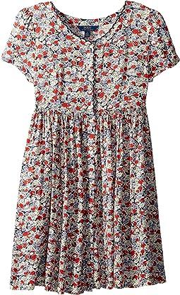Floral Button-Front Dress (Big Kids)