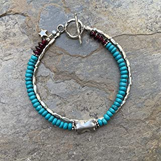 Bohemian Turquoise and Sterling Silver Bracelet, 7.5 inch