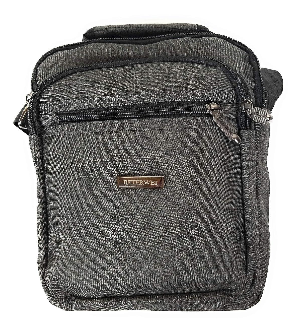 Canvas Messenger Sling Crossbody Bag Satchel Perfect for iPad Mini, Kindle, E-Readers Men Women Students (Smokey Grey)