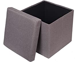 BIRDROCK HOME Folding Storage Ottoman - Upholstered - 16 x 16 - Linen - Strong and Sturdy - Quick and Easy Assembly - Foot Stool - Grey