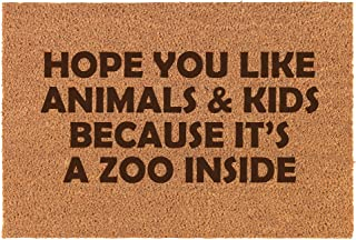 Daylor Coir Door Mat Doormat Funny I Hope You Like Animals and Kids It's A Zoo Inside