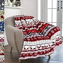 "PAVILIA Premium Plush Fleece Throw Christmas Blanket   Soft, Warm, Cozy, Reversible Microfiber Fleece Winter Cabin Throw   Holiday Theme Blanket 50"" x 60"" (Red)"