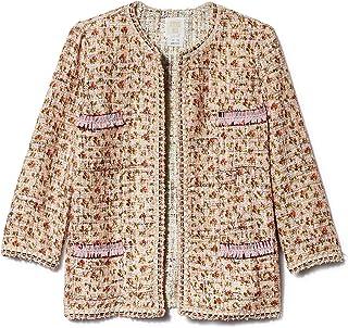 Anna Sui Women'S Blush Rosebuds Tweed Jacket