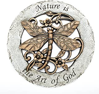 Nature is The Art of God Dragonfly 12 inch Round Dolomite Resin Stepping Stone