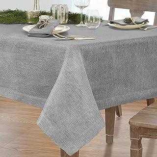 "Villeroy and Boch La Classica 70""x126"" Oblong Tablecloth, 70"" W x 126"" L, Metallic Silver Gray"