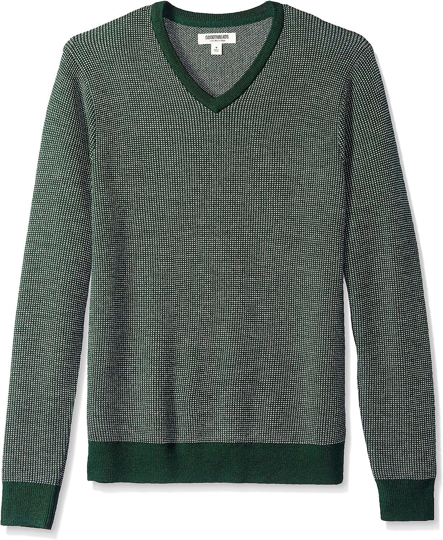 Men's Vintage Sweaters, Retro Jumpers 1920s to 1980s Goodthreads Mens Lightweight Merino Wool V-Neck Birdseye Sweater  AT vintagedancer.com