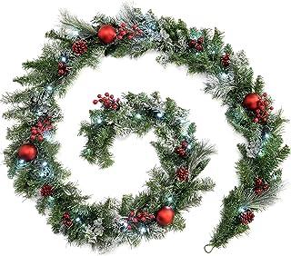 WeRChristmas–9Ft Guirnalda de Navidad con iluminación 40LED luz Blanca fría