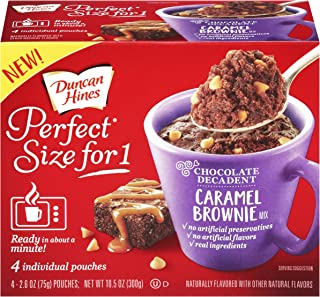 Duncan Hines Perfect Size for 1 Brownie Mix, Ready in About a Minute, Caramel Brownie, 4 Individual Pouches