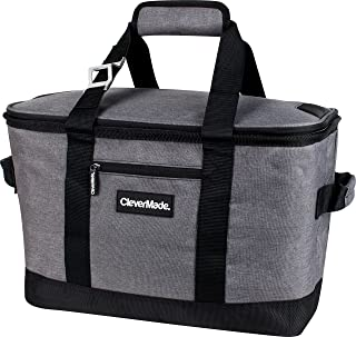 CleverMade Collapsible Cooler Bag: Insulated Leakproof 50 Can Soft Sided Portable Cooler..