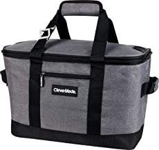 CleverMade Collapsible Cooler Bag: Insulated Leakproof 50 Can Soft Sided Portable Cooler Bag for Lunch, Grocery Shopping, Camping and Road Trips, Heather Grey/Black, 8 gallon/30 Large (7060-H011-00061PK)