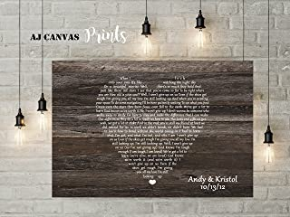 First Dance Lyrics Canvas, Song Lyric Wall Art, Personalized Newlywed Gifts, for him, 25th Wedding (8x10, Unframed Print)
