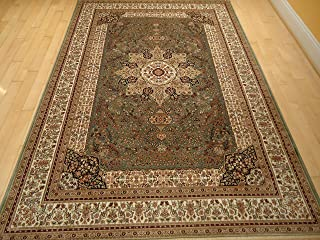Luxury Green Rugs Silk Traditional Rug Persian Area Rugs Green 7x10 Rugs Isfahan Silk 6x9 Living Room Rugs Green Rugs for Bedroom (Large 6.5x10)
