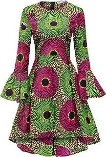 Women African Print Dresses Autumn and Winter Long Sleeves Ankara Dress