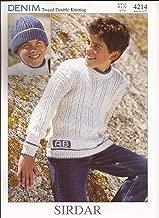 Sirdar Denim Tweed DK Knitting Pattern 4214 Monogrammed Sweater and Hat for Children 1yr-12 yrs