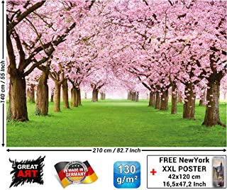Mural – Cherry Blossom Tree – Decorative Wall Poster of Spring Nature Landscape Avenue Cherry Blossoms Sakura Bloom Flowers Wallpaper Photoposter Decor (82.7 x 55 Inch / 210 x 140 cm)