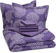AmazonBasics 7-Piece Bed-In-A-Bag Comforter Bedding Set - Full or Queen, Purple Floral, Microfiber, Ultra-Soft