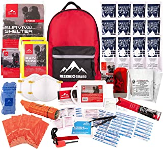 Rescue Guard First Aid Kit Hurricane Disaster or Earthquake Emergency Survival Bug Out Bag Supplies for Families - 72 Hours of Disaster Preparedness Supplies