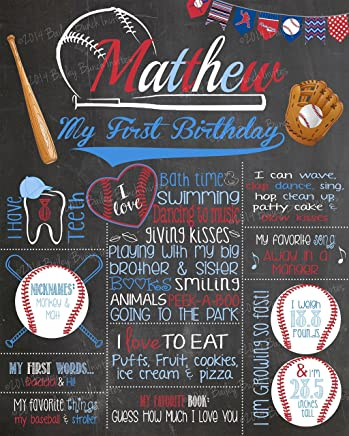 Baseball Milestone Birthday Chalkboard, Homerun, MOUNTED & READY TO BE DISPLAYED or Print to