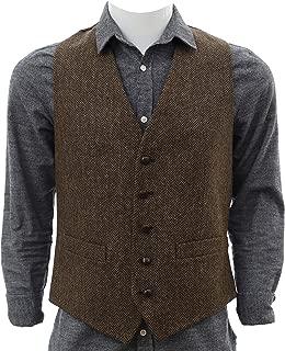 Irish Tweed Vest Traditional Herringbone Pattern Full Back 100% Irish Wool from Tipperary Made in Ireland