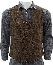 Biddy Murphy Irish Tweed Vest Traditional Herringbone Pattern Full Back 100% Irish Wool from Tipperary Made in Ireland