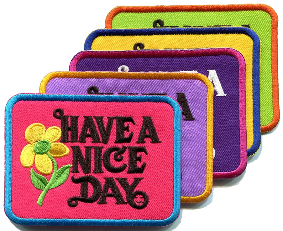 Lot of 5 Have a Nice Day 70s slogan hippie retro boho weed love applique iron-on patch new