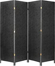 MyGift Decorative 4 Panel Room Divider, Freestanding Privacy Screen w/Chinese Calligraphy, Black