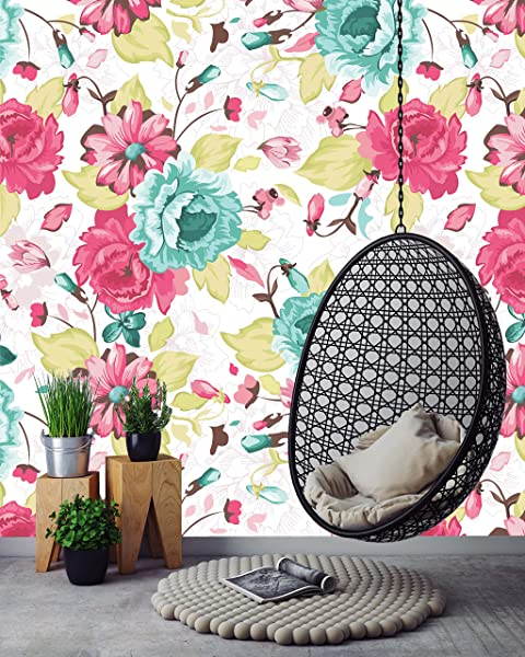 Removable Wallpaper Mural Peel Stick Seamless Pattern With Floral Background 25W X 75H Inches