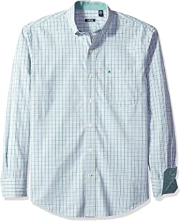 IZOD Men's CLEARANCE Button Down Long Sleeve Stretch Performance Tattersal Shirt