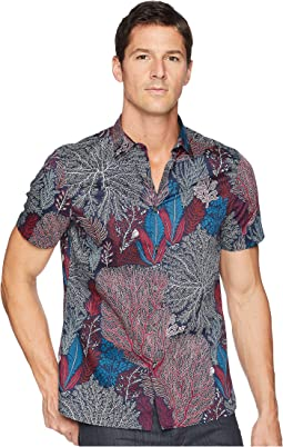Perry Ellis Coral Print Short Sleeve Button Down Shirt
