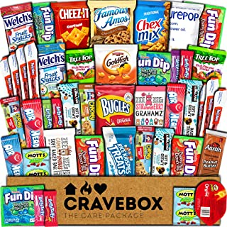 CraveBox Care Package (45 Count) Snacks Food Cookies Chocolate Bar Chips Candy Ultimate Variety Gift Box Pack Assortment Basket Bundle Mix Bulk Sampler Treats College Students Final Exam Office Easter