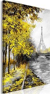 murando Cuadro en Lienzo Paris 60x90 cm impresión en Material Tejido no Tejido impresión artística fotografía Imagen gráfica decoración de Pared Paisaje Arbol Grau Amarillo d-C-0099-b-b