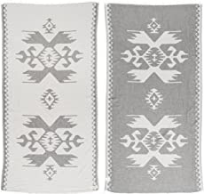 Bersuse 100% Cotton Oaxaca Dual-Layer Handloom Turkish Towel - 39X71 Inches, Silver Gray